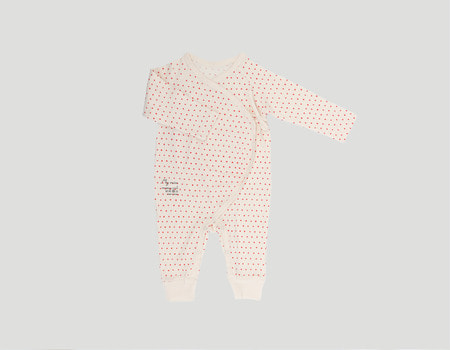 baby organic jump suit(ivory-dot)